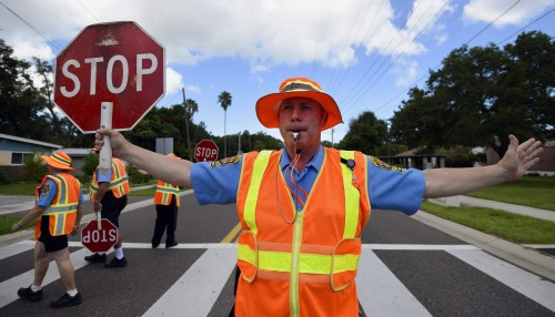 Officer issuing Failure to Obey School Crossing Guard in California