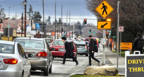Officer issuing Pedestrian Crosswalk Violation in California